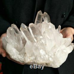 Pierre De Roche Crue Originale De Points De Cluster De Cristal Blanc De Quartz Blanc Naturel De 8,94lb