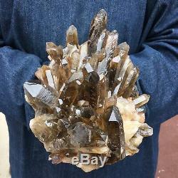 Point De Spécimen De Cristal De Cluster De Quartz Citronné Smokey Naturel 7.4lb Guérison Ot496
