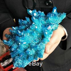 Points De Noyau De Cristal De Quartz De Revêtement De Titane D'aqua Bleu D'arc-en-ciel De 5.2lb