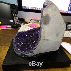 Poli Énorme Améthyste Cristal Cluster Géode De La Base En Bois ' Uruguay W