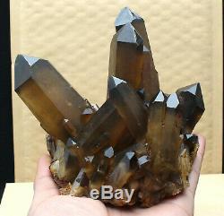 Quartz 930g Naturel Clair Fumé Citrine Cristal Point Cluster De Guérison Minérale