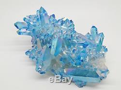 Rare Huge Blue Aqua Angel Aura Quartz Cristal Cluster Rainbow Healing Pagan 726g