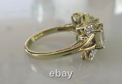 Seconde Main 9ct Or Jaune Blanc Quartz Multi Diamant Taille Anneau De Grappe N