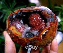 Spécimen Cathédrale Quartz Géode Cristal Agate Rouge Naturel Cluster Edge
