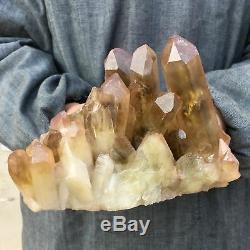 Spécimen De Cristal De Groupe De Quartz Citrine Enfumé Naturel De 3.98lb Guérissant Mn860-ga