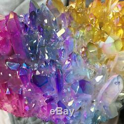Spécimen De Guérison De Groupe De Cristaux De Titane De Quartz Coloré Clair D'aura De 2.0lb