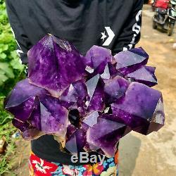 Spécimen De Polissage De Cristal D'amas De Quartz D'améthyste Naturel De 8,9 Lb Guérison