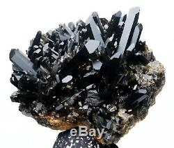 Spécimen Minéral De Grappes De Cristaux De Quartz Noir De 13.7lb Natural Beauty