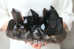Spécimen Tibétain Groupe De Cristaux De Quartz Noir De Fumée Noire De 4700g Naturelle