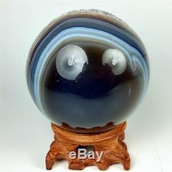 Sphère En Agate Polie De 3,45 Avec Centre De Cristal Au Centre Du Bois, Brésil A227