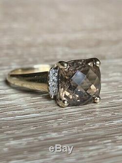 Superbe 9ct D'or À Quartz Fumé Et Diamants