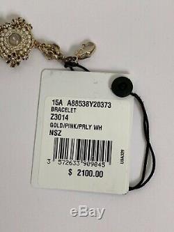 Tn-o Chanel Cristal Perle Flower Cluster CC Logo Bracelet En Or Tone Avec La Boîte 2100 $
