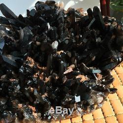 Top Grand Rare Naturel Noir Cristal Quartz Cluster Minéral Spécimen 290mm 4540g