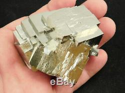 Un Grand Fou Looking 100% Naturel Stepped Pyrite Cristal Cube Cluster Espagne 361gr