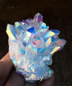 Unique Angel Aura Quartz Cluster Crystal Arcs En Ciel Revêtus