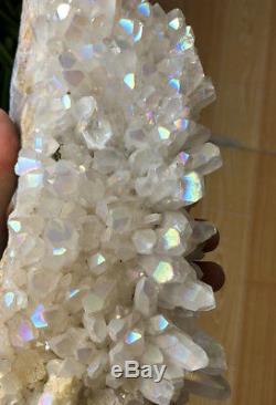 Unique Angel Aura Quartz Cluster Crystal Et Rainbows À Revêtement Argenté Platine # 2920