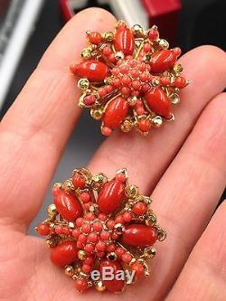 Vintage Jose Et Maria Barrera Faux Corail Boucles D'oreilles Clip Cluster Cristal Autrichien